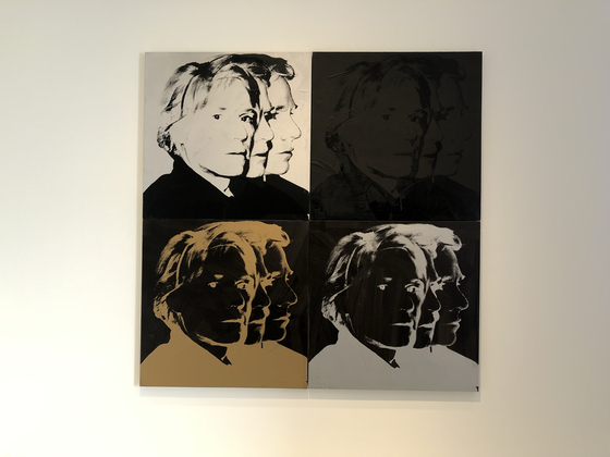 ″Self-Portrait (1978)″ by Warhol reveals three different angles of his face into a polyptych. [SHIN MIN-HEE]