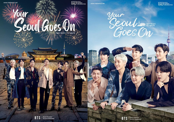 Posters featuring BTS as they promote Seoul Tourism Organization's global campaign ″Your Seoul Goes On″ [SEOUL TOURISM ORGANIZATION]