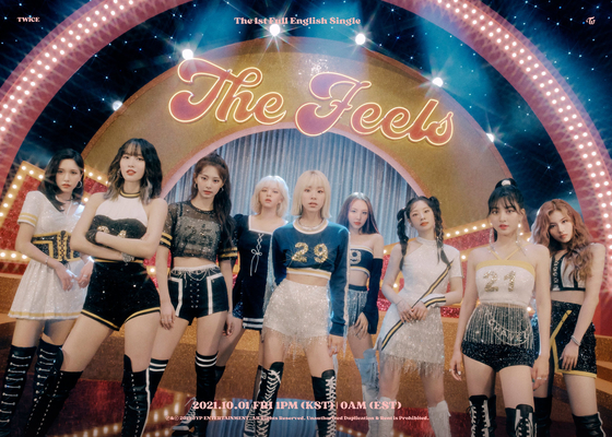 The teaser poster for Twice's new English single, ″The Feels″ [JYP ENTERTAINMENT]