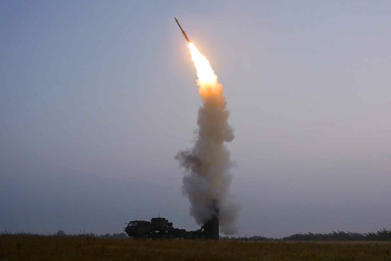 A photo of a new type of anti-aircraft missile developed by North Korea's Academy of Defense Science is released by the state-run Korean Central News Agency (KCNA) on Friday. The North test-fired it the previous day, according to the KCNA. [YONHAP]
