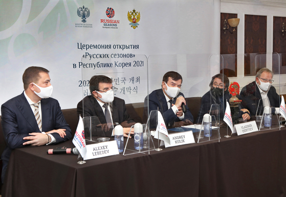 From left, Alexey Lebedev, director of the Russian Seasons Project; Andrey Kulik, ambassador of Russia to Korea; Russia's Deputy Minister of Culture Vladimir Osintsev; violist and conductor Yuri Bashmet; and Semyon Mikhailovsky, Russian art historian and founder of the Ilya Repin St. Petersburg Academy of Arts speak to the press about the Russian Seasons launching in Seoul on Saturday at the Seoul Arts Center in southern Seoul. [PARK SANG-MOON]