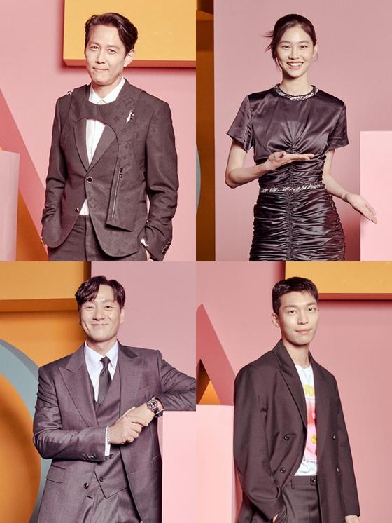 From top left, clockwise: Lee Jung-jae, Jung Ho-yeon, Wi Ha-jun and Park Hae-soo [NETFLIX]