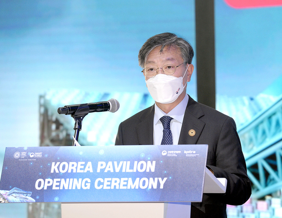 Yu Jeoung-yeol, commissioner general of the Korea Pavilion and President and CEO of Kotra, speaks during an opening ceremony of the Korea Pavilion at Expo 2020 Dubai on Oct. 1. [KOREA TRADE-INVESTMENT PROMOTION AGENCY]