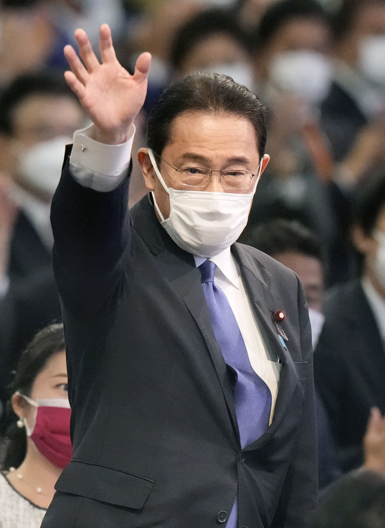 Japan's Prime Minister Fumio Kishida on Sept. 29 at a hotel in Tokyo, after clinching his victory in the election. Kishida's term in office began on Monday. [YONHAP]