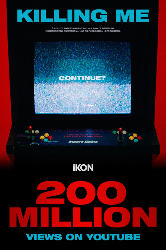 The music video for iKON's ″Killing Me″ was viewed over 200 million times. [YG ENTERTAINMENT]