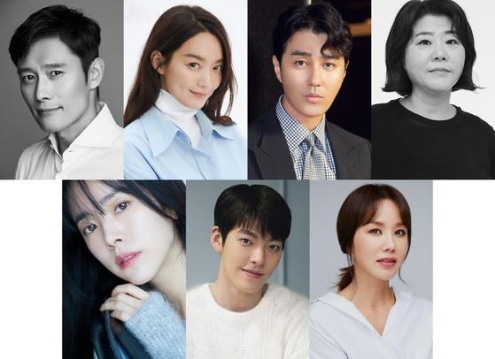 Clockwise from left, actors Lee Byung-hun, Shin Min-a , Cha Seung-won, Lee Jung-eun, Uhm Jung-hwa, Kim Woo-Bin and Han Ji-min [BH ENTERTAINMENT, AM ENTERTAINMENT, YG ENTERTAINMENT, WILL ENTERTAINMENT, SARAM ENTERTAINMENT]