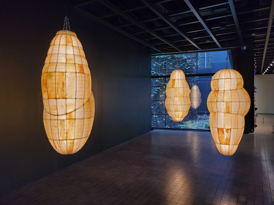 """Cocoon-like works by Korean-American artist Anicka Yi are now on view as part of the """"Strange Planet"""" exhibition at a permanent collection gallery for contemporary art in Leeum Museum of Art. [MOON SO-YOUNG]"""