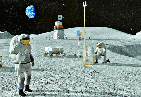 An image portraying a part of NASA's Artemis program aimed at landing humans on the Moon by 2024, and focusing on Mars as a long-term human spaceflight goal after that. Korea is to participate in the international program. [NASA]