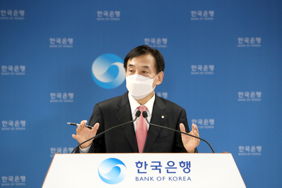 Bank of Korea Gov. Lee Ju-yeol speaks during an online press briefing held Tuesday after the monetary policy board voted to maintain the country's base rate at 0.75 percent. [BANK OF KOREA]