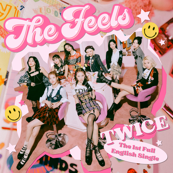 """This month, girl group Twice released its first English-lyric single """"The Feels"""" and premiered the stage performance of the track on the American talk show """"The Tonight Show Starring Jimmy Fallon."""" [JYP ENTERTAINMENT]"""