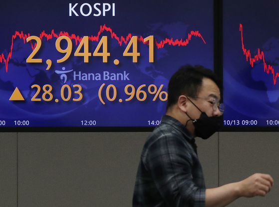 A screen in Hana Bank's trading room in central Seoul shows the Kospi closing at 2,944.41 points on Wednesday, up 28.03 points, or 0.96 percent from the previous trading day. [NEWS1]