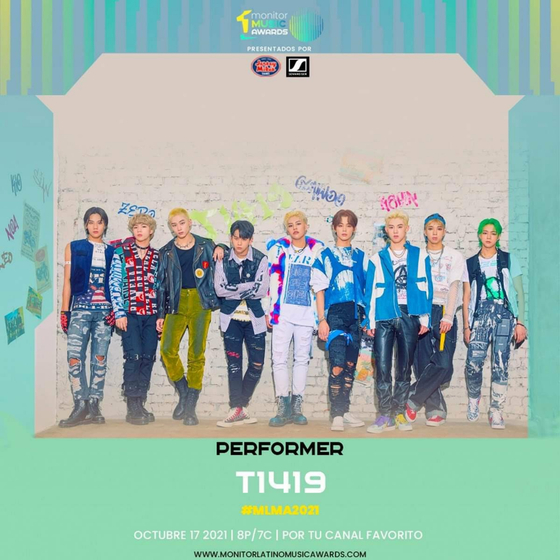 Boy band T1419 is the first Korean artist to be invited to the Monitor Music Awards 2021, a prestigious music awards in Latin America. [MONITOR LATINO]