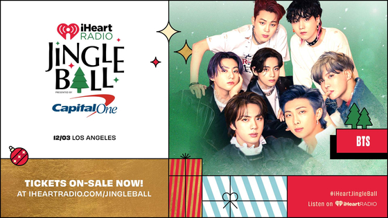 Boy band BTS will appear in the American end-of-the-year concert 2021 Jingle Ball Tour in Los Angeles on Dec. 3. [IHEARTRADIO'S KIIS FM JINGLE BALL]