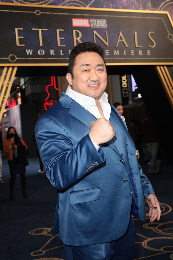 Actor Ma Dong-seok arrives at the premiere of Marvel Studios' ″Eternals″ in Los Angeles on Oct. 18. [WALT DISNEY COMPANY KOREA]