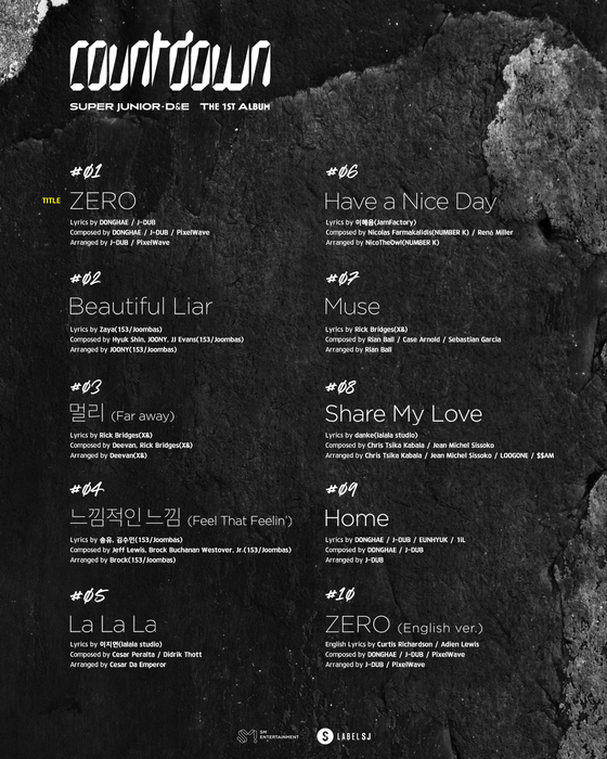 Tracklist for Super Junior D&E's upcoming album ″Countdown.″ [LABEL SJ]